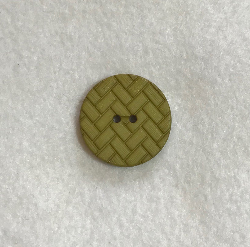 Olive Green Chevron Herringbone Plastic Button - Dill Buttons Brand (3 Sizes to Choose From)