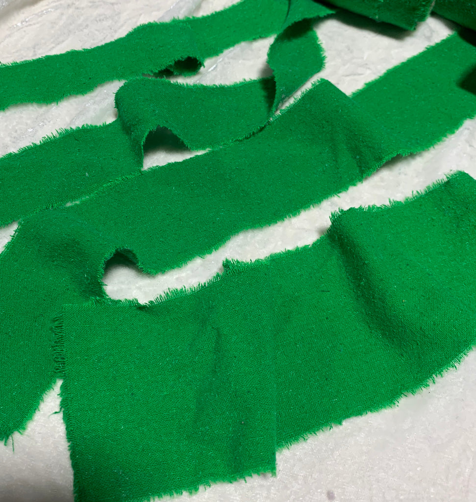 Hand Dyed Bright Kelly Green 100% Silk Noil Ribbon ( 4 Widths to choose from)