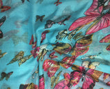 Turquoise with Butterflies - Polyester Gauze Voile