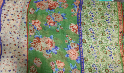 Green & Blue Floral Stripe - Polyester Gauze Voile Fabric