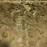 Bronze & Gold Floral Paisley - Faux Silk Brocade Fabric