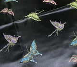 Black with Butterflies - Faux Silk Brocade Fabric