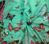 Mint with Butterflies - Polyester Gauze Voile