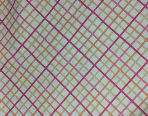 Pink & Peach Plaid - Rayon/Linen Fabric