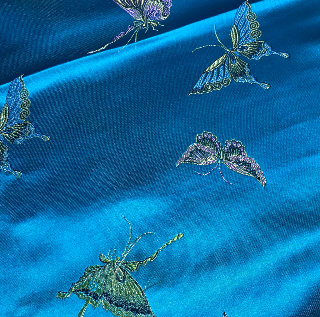 Turquoise with Butterflies - Faux Silk Brocade Fabric