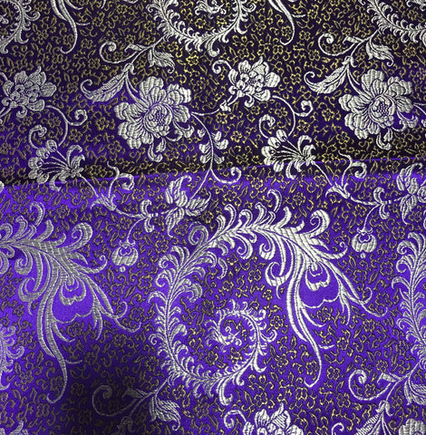 Purple & Gold Feather Floral - Faux Silk Brocade Fabric