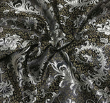 Black & Gold Feather Floral - Faux Silk Brocade Fabric