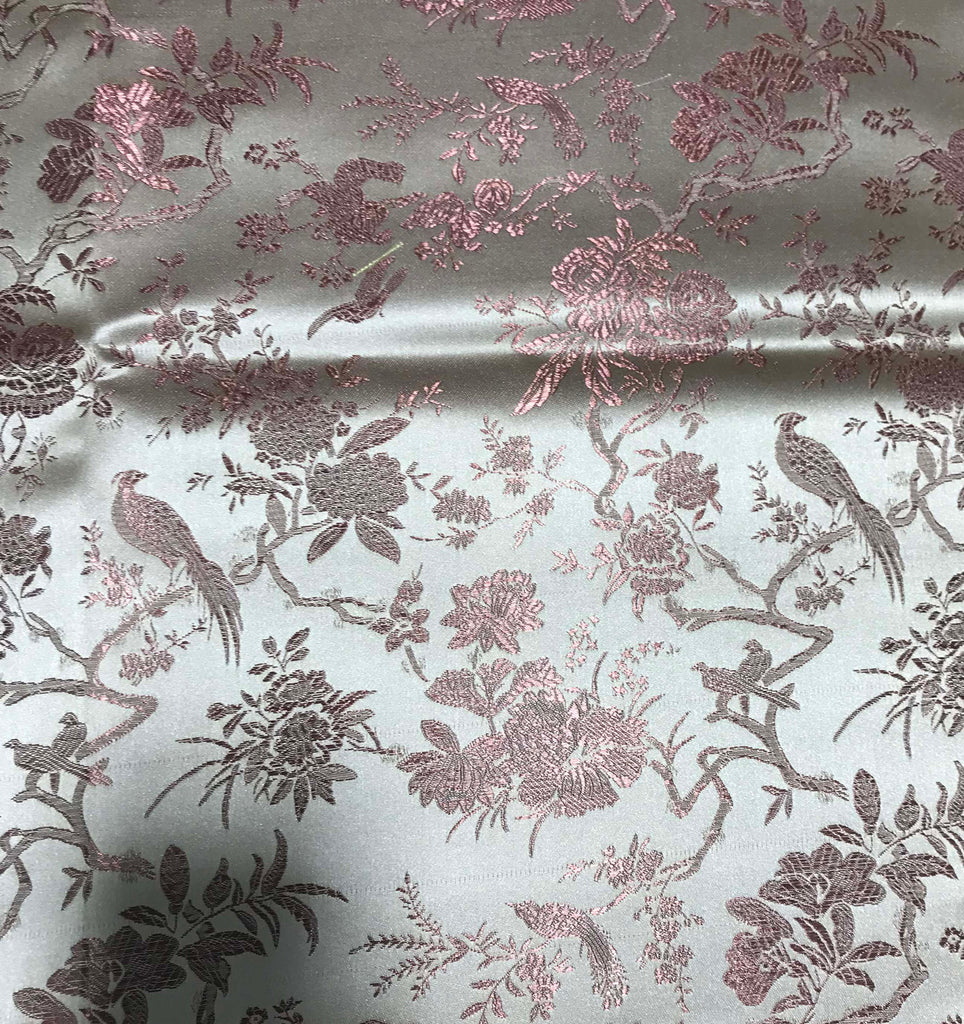 Rust & Gold Birds Floral - Faux Silk Brocade Fabric