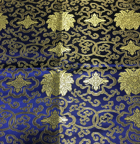 Royal Blue & Gold Medallions - Faux Silk Brocade Fabric