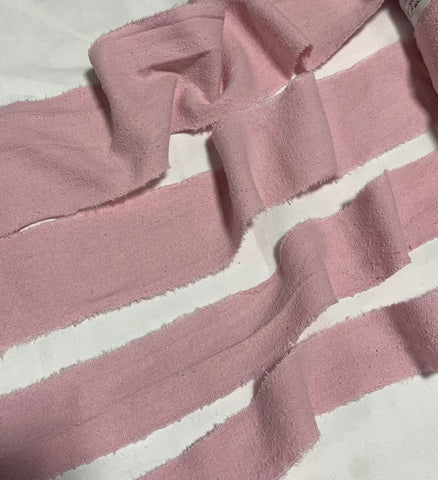Hand Dyed Baby Pink 100% Silk Noil Ribbon ( 4 Widths to choose from)