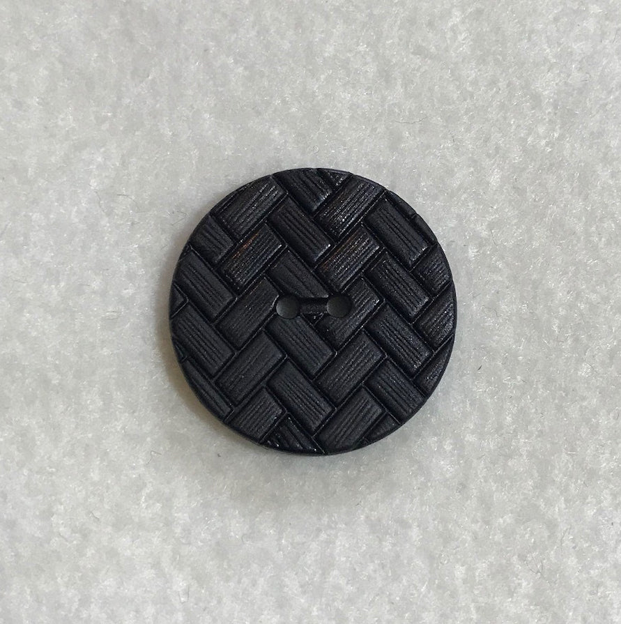 Black Chevron Herringbone Plastic Button - Dill Buttons Brand (3 Sizes to Choose From)