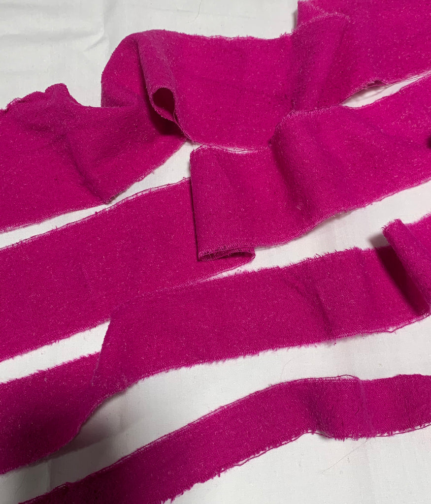 Hand Dyed Pink Orchid 100% Silk Noil Ribbon ( 4 Widths to choose from)