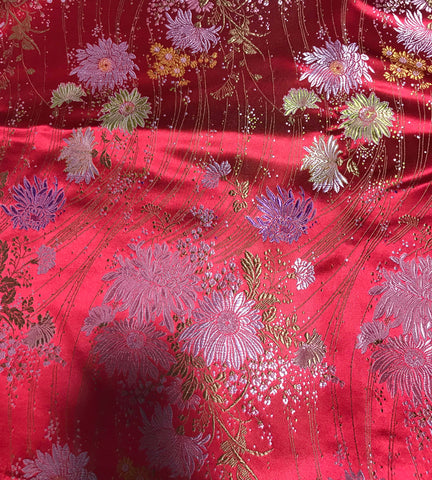 Red Daisy Floral - Faux Silk Brocade Fabric