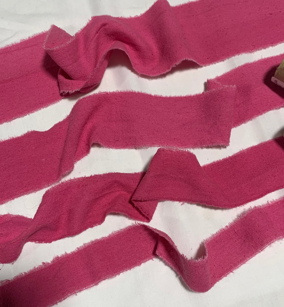 Hand Dyed Flamingo Pink 100% Silk Noil Ribbon ( 4 Widths to choose from)
