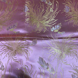 Baby Pink Mums Floral - Faux Silk Brocade Fabric