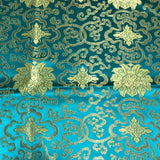 Emerald & Gold Medallions - Faux Silk Brocade Fabric