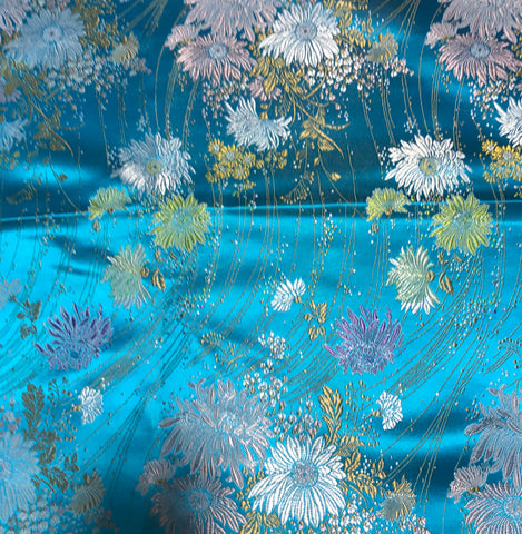 Turquoise Daisy Floral - Faux Silk Brocade Fabric