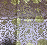 Baby Pink & Gold Medallions - Faux Silk Brocade Fabric
