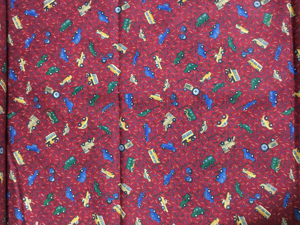 Burgundy Red with Trucks - Mums the Word Debbie Mumm SSI - Cotton Fabric