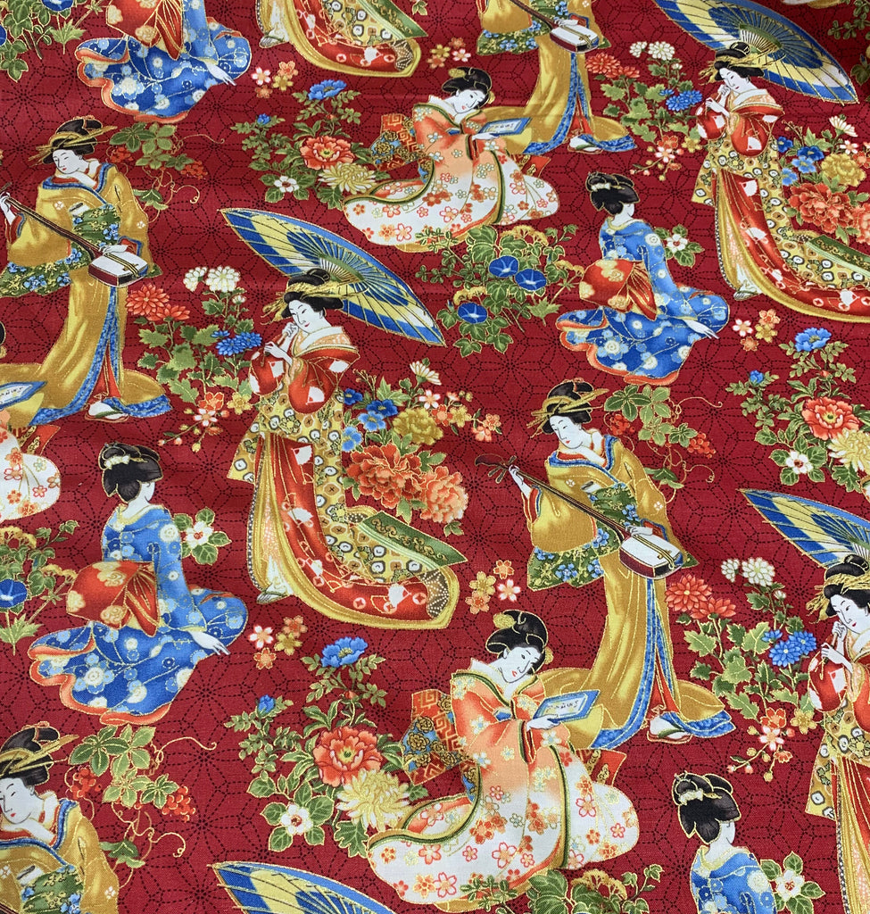 Red Floral Japan - Kyoto Garden - Northcott Cotton Fabric
