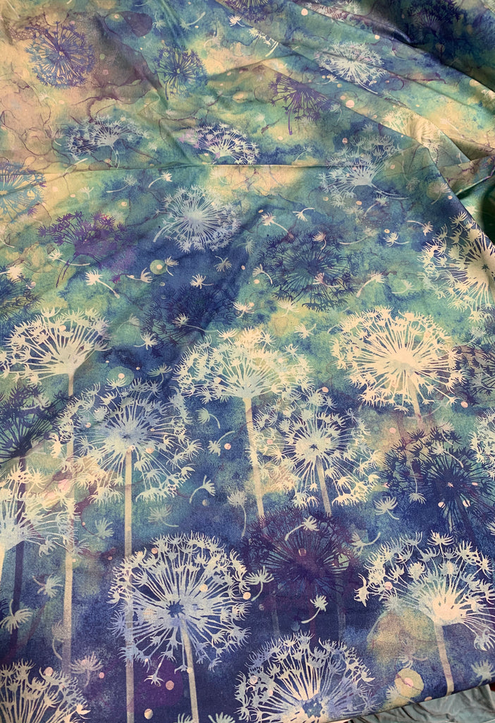 Green & Blue Dandelion Watercolor - Make A Wish - Northcott