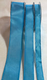 Turquoise Blue Wired Taffeta Ribbon - Made in France (3 Widths to choose from)