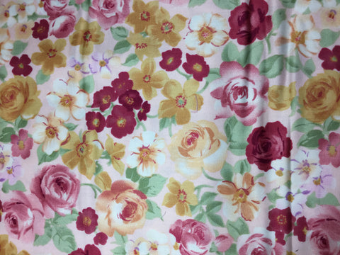 Burgundy & Gold Floral - Marcus Brothers - Cotton Sateen Fabric