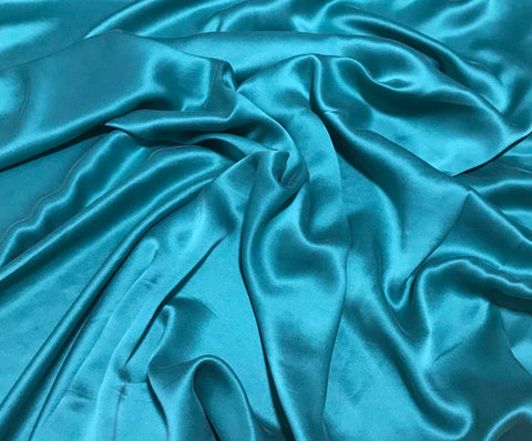 Teal Green - Sandwashed Silk Charmeuse Fabric
