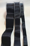 Black Wired Taffeta Ribbon - Made in France (3 Widths to choose from)