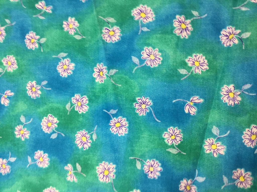 Daisies on Blue Green - Classic Cottons - Cotton Fabric