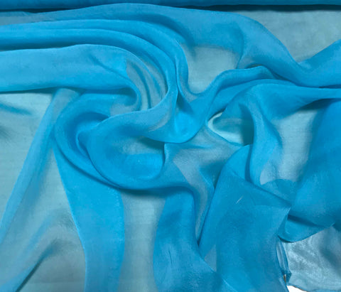 Turquoise Blue - Hand Dyed Soft Silk Organza