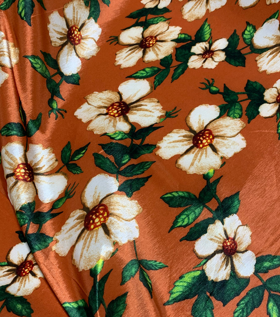 Rust & Ivory Floral - Stretch Polyester Taffeta Fabric