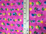 Printed Garden Pink with Flowers - Hoffman - Cotton Fabric