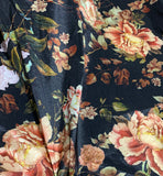 Black & Peach Peony Floral - Stretch Polyester Taffeta Fabric