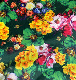Green, Yellow, Pink Multi Floral - Stretch Polyester Taffeta Fabric
