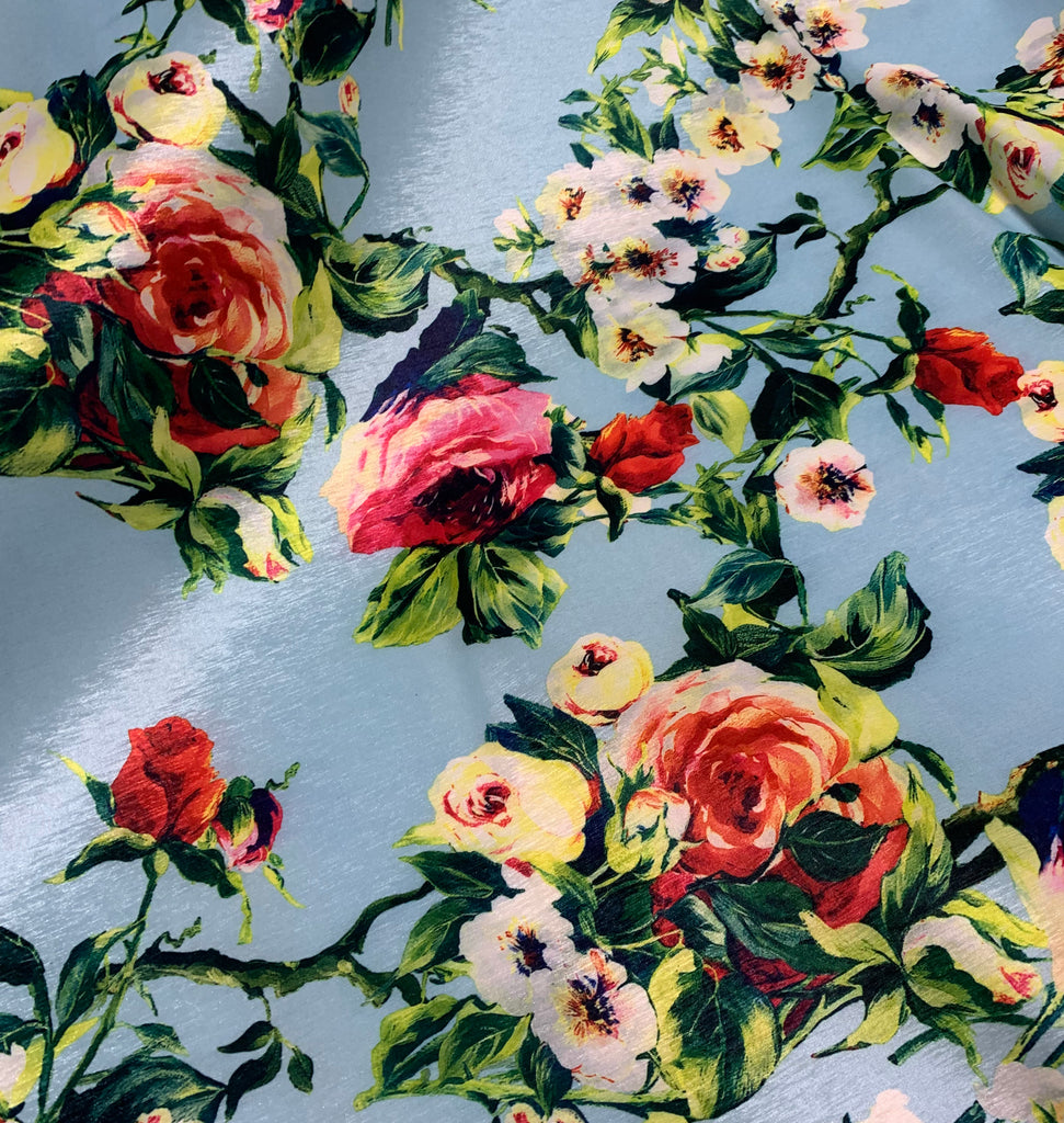Blue with Roses Floral - Stretch Polyester Taffeta Fabric