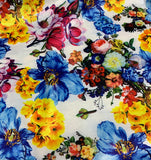 White, Blue, Yellow & Pink Multi Floral - Stretch Polyester Taffeta Fabric