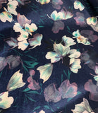 Midnight Magnolia Floral - Stretch Polyester Taffeta Fabric