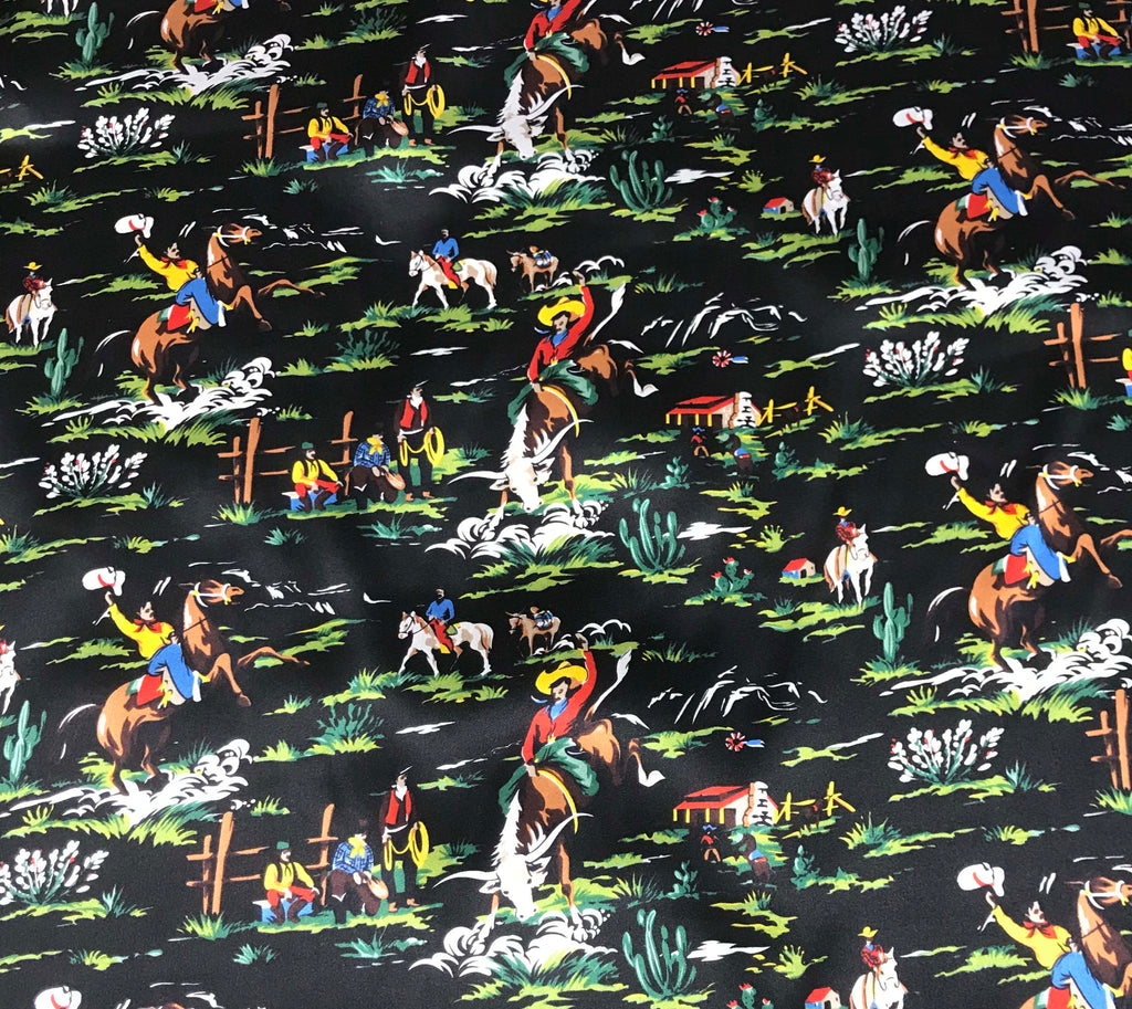 Black Western Ranch Cowboys - Silk Charmeuse Fabric
