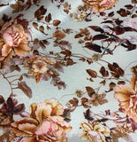 Gray & Peach Peony Floral - Stretch Polyester Taffeta Fabric