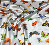 Butterflies - Silk Charmeuse Fabric