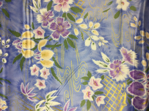 Periwinkle & Purple Iris Floral - Trans Pacific Textile - Cotton Sateen Fabric