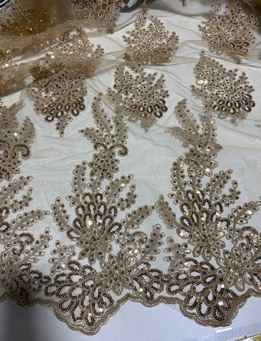 Antique Gold Sequin Floral Embroidered Tulle Fabric