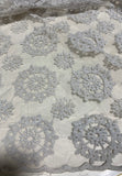 Gray Floral Doilies Embroidered Organza Fabric
