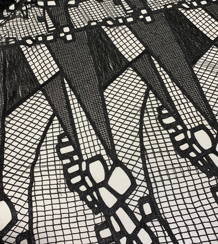 Black Geometric Lace - Schiffli Lace Fabric