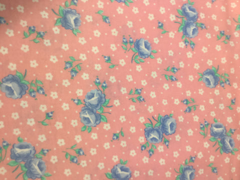 Pink with Blue Roses - Cotton Flannel Fabric