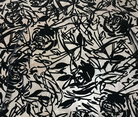 Black Roses - Burnout Silk Velvet Fabric