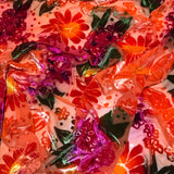 Hand Dyed Bright Orange Floral - Burnout Silk Velvet Fabric