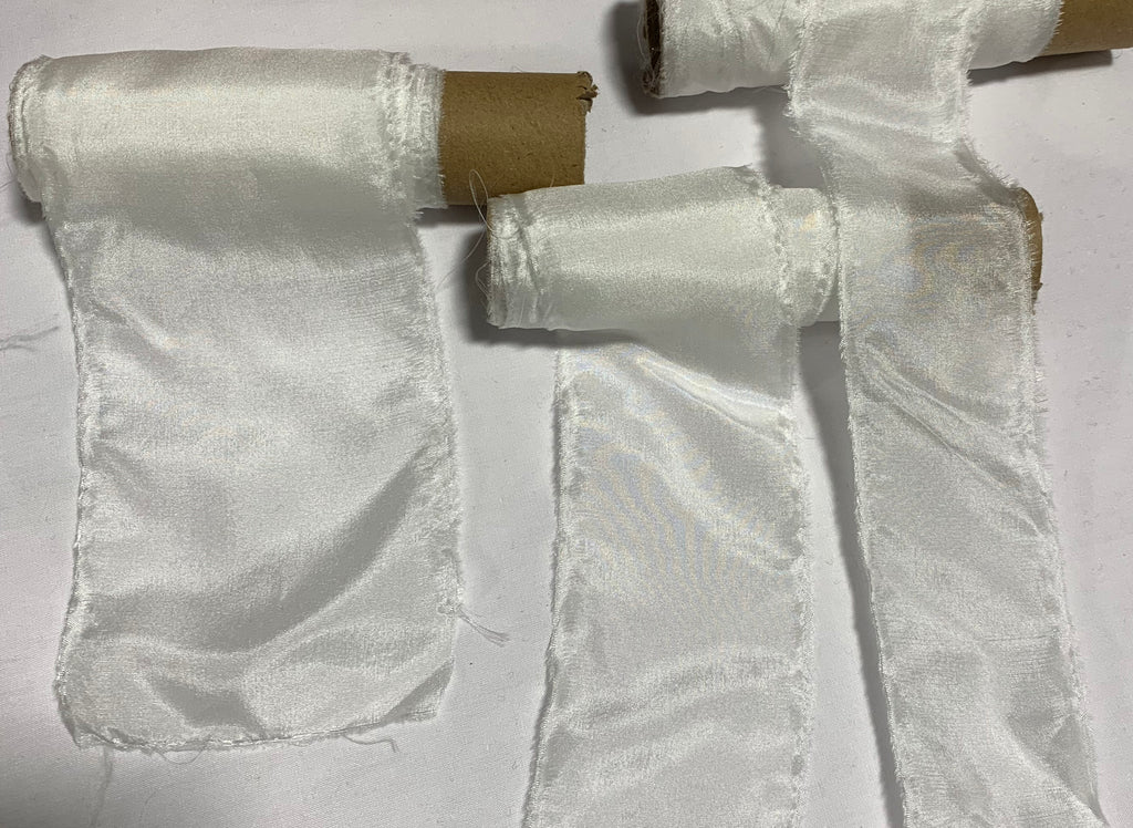 White 100% Silk Habotai Ribbon ( 4 Widths to choose from)