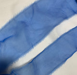 Cornflower Blue Hand Dyed 100% Silk Sheer Organza Ribbon ( 4 Widths to choose from)